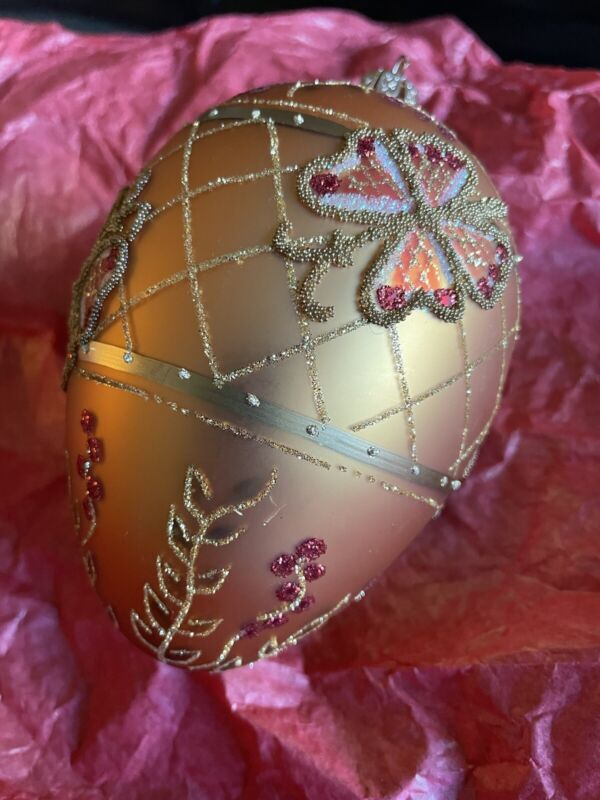 VINTAGE WC Angel Glass Christmas Ornament GOLD Butterfly Flowers LARGE EGG