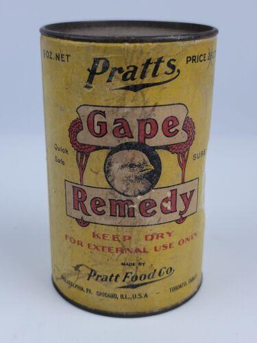 Antique Pratts Gape Remedy animal food remedy cardboard Chicken Head advertising