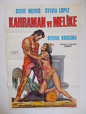 1960 Hercules Unchained Original Turkish Movie Poster One Sheet 27x40