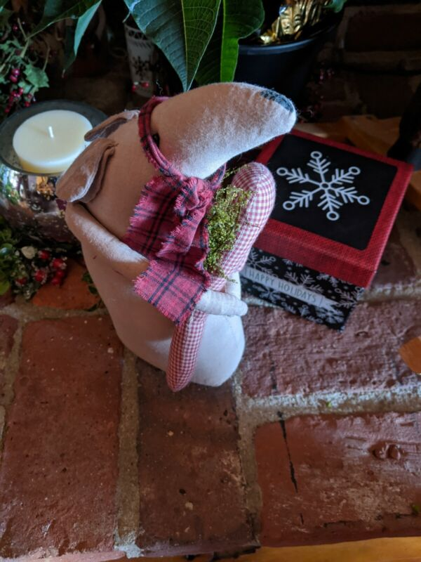 """12"""" Fabric Stuffed Christmas Mouse And Her candy Cane"""