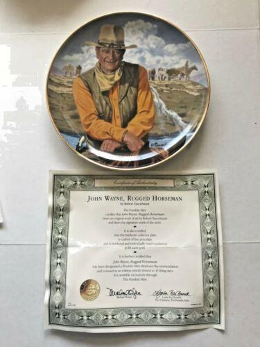 "Hamilton 24K Gold ""Rugged Horseman"" Original Box COA JOHN WAYNE Collector Plate"