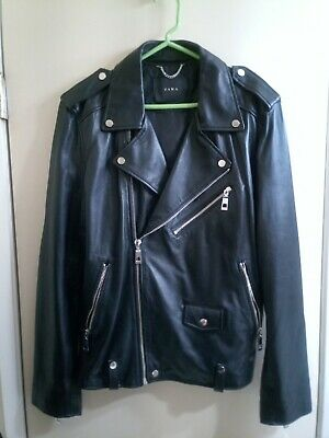 zara man Large faux leather biker jacket