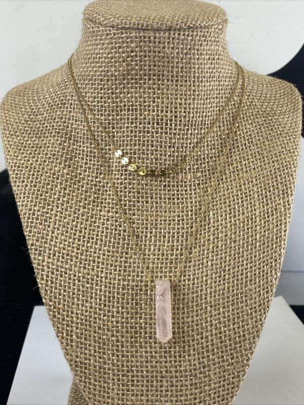 """14K Gold Plated Brass Rose Quartz Crystal Pendant, Necklace Set """"Luna Norte"""""""