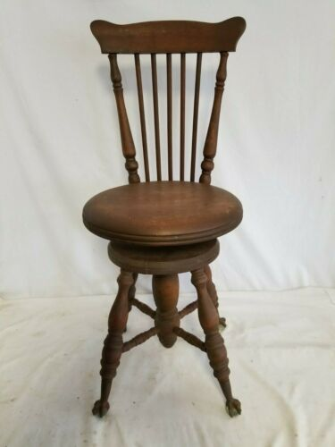 Antique Chas.Parker High Back Ball & Claw Foot Piano Organ Stool Bench