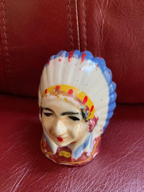 Vintage Native American Indian Bust Salt & Pepper Shaker Single Japan