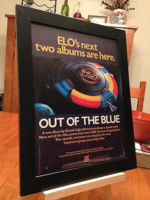 """FRAMED ELECTRIC LIGHT ORCHESTRA (ELO) """"OUT OF THE BLUE"""" LP ALBUM CD PROMO AD"""