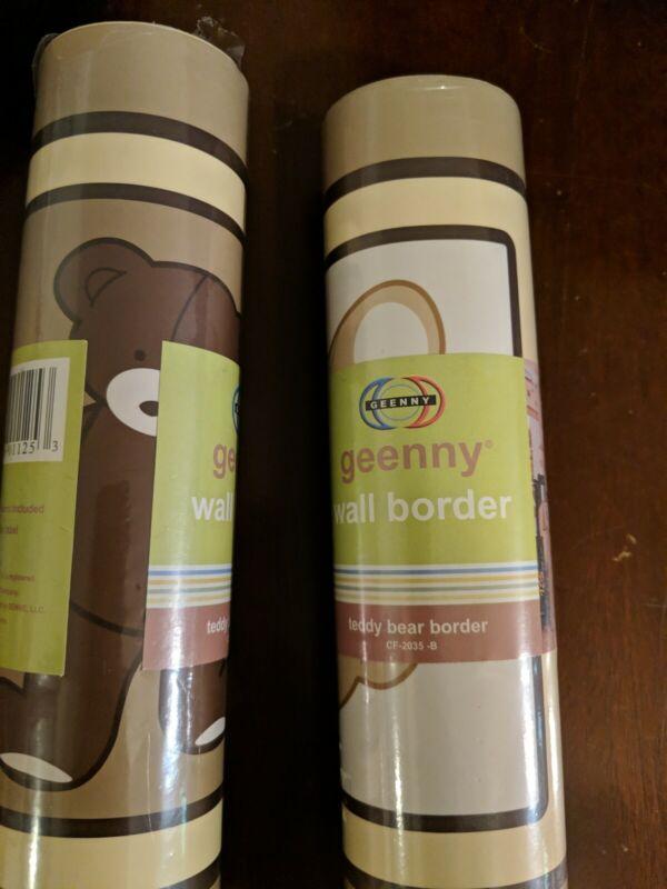 Pair (2) GEENNY Wall Border Teddy Bear Wallpaper Border CF-2035-B ~ NEW