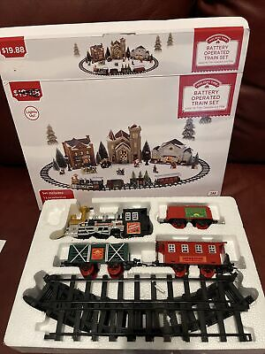 """Holiday Time Village Express, 12 Piece Battery Operated Train Set, 40"""" x 29.5"""""""