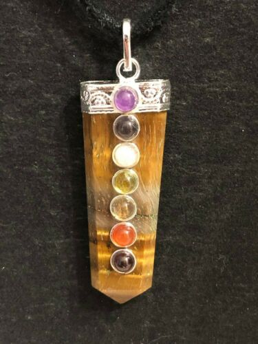 Chakra Tiger Eye Pendant with Leather Cord Wiccan Pagan Crystal Healing 02