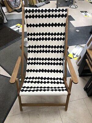 HABITAT Maui Oak deckchair + arms natural/black canvas ONLY £55 COLLECT WF11 9HS