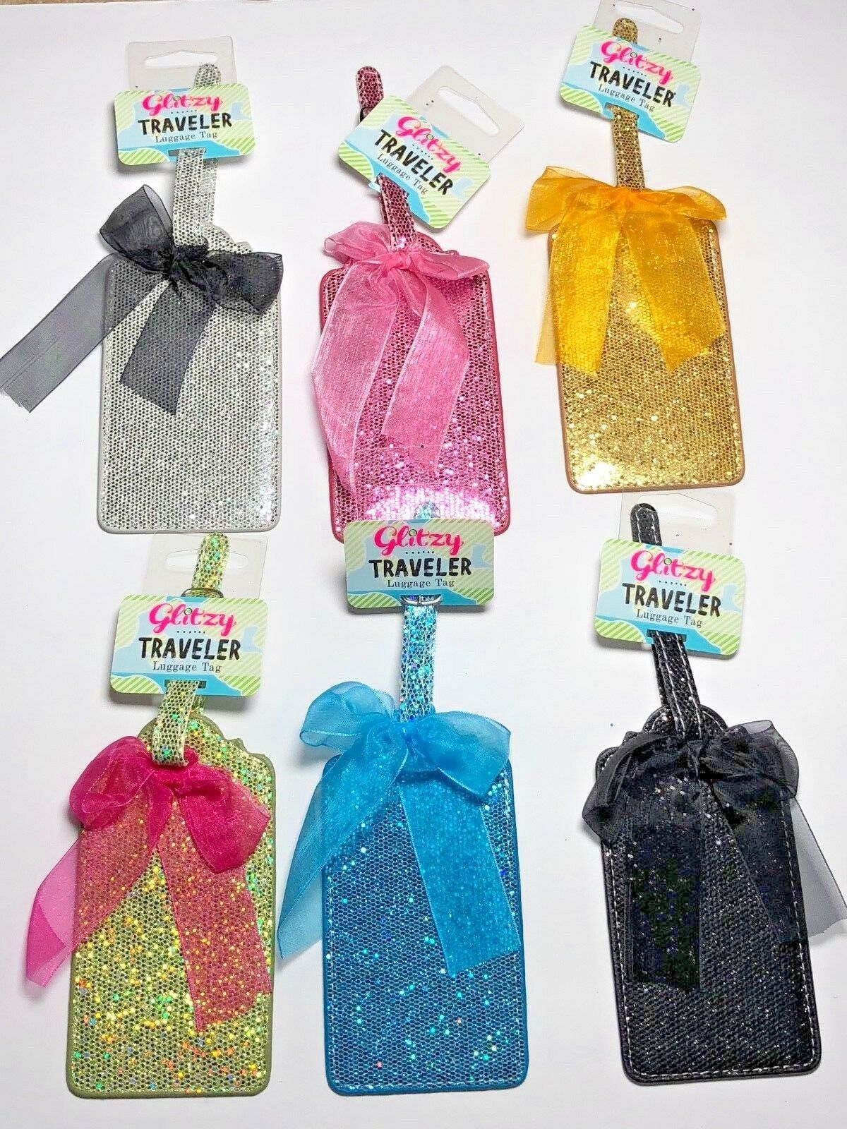 Glitter Travel Luggage ID Tag 5 Sparkling Colors Blue Green