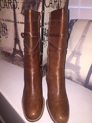 "UGG Australia ""Caroline"" Brown Pebbled Leather High Heel Mid Calf Boots Sz 8"