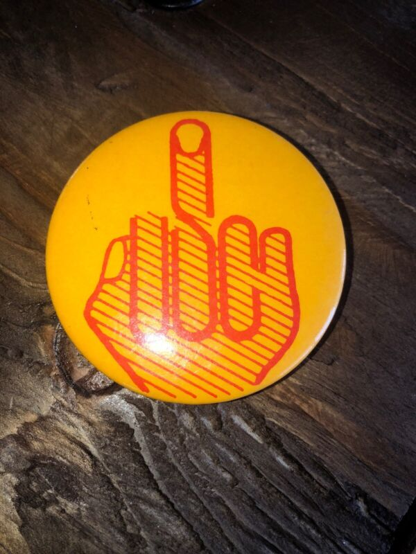 Vintage Middle Finger Hippie Political Protest Pin Back Button - Hard To Find!