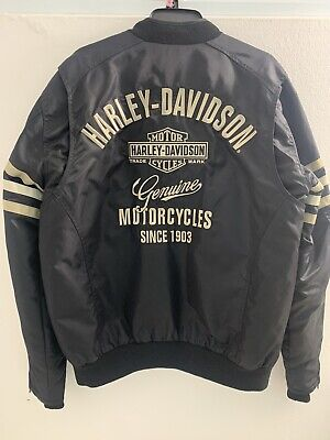 Harley Davidson Heritage Mens Black Nylon Bomber Jacket Size Medium 98552-15VM