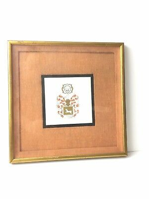 """- Antique Framed Hand Painted Gold Family Shield Coat Of Arms 6""""X 6"""" Tile Deer"""