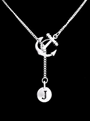 Necklace Anchor Initial Letter Lariat Best Friend Sister Nautical Valentine