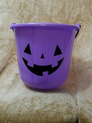 Halloween Jack-o-Lantern Purple Pumpkin Trick-or-Treat Candy Bucket