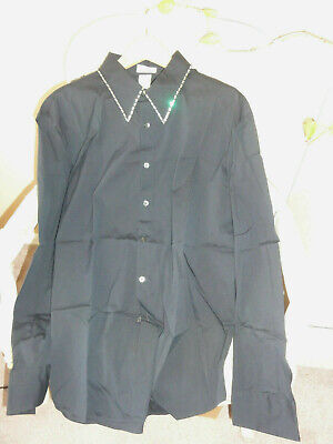 VINTAGE GIANNI VERSACE DRESS SHIRT BLACK RHINESTONE COLLAR SIZE 56 IT OR 3XL