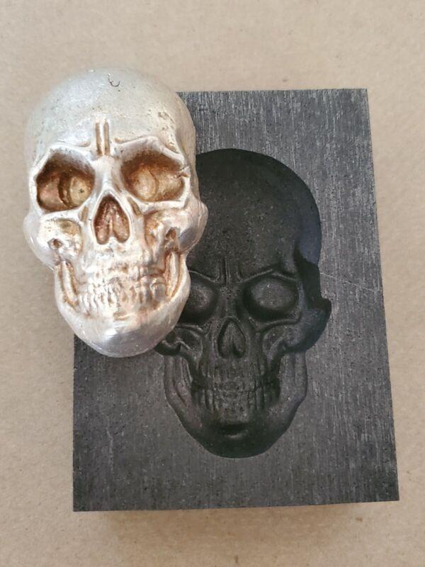 Large skull 3D Graphite Ingot Mold Gold Silver Copper Melting Casting Refining