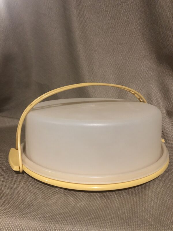 "Vintage Round Tupperware 9""Pie Keeper Carrier Container w/ Carry  Handle"