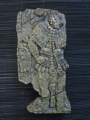 Authentic Zarebski Mayan God Wall Plaque w/Label Malachite & Wood Wall Decor