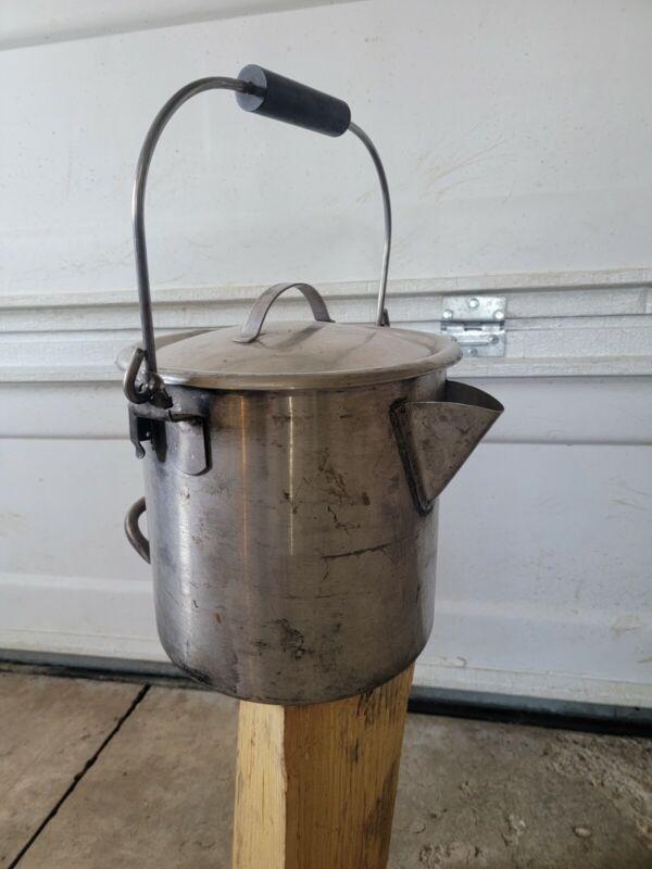 VINTAGE STAINLESS STEEL NASH METALWARE COFFEE POT ~TEA~COWBOY~CAMPING~BUSHCRAFT~