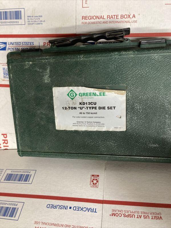 Greenlee KD12CU U Crimp Die Set 6 AWG -750 Kcmil MCM Crimper 12 Ton #8157