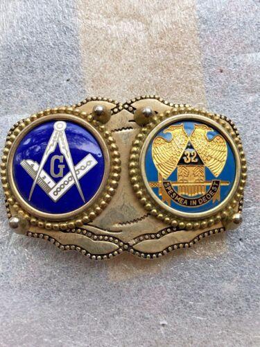 Nice Enamel 32 Degree Mason Masonic Fraternal Belt Buckle