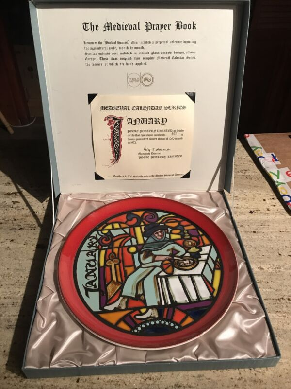 """Poole Pottery """"January"""" Medieval Calendar Series Plate w/Box 1972 #462 Of 1000"""