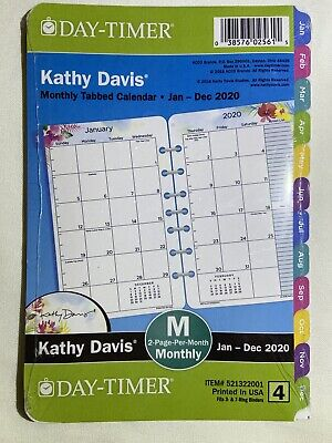 Day-timer Kathy Davis 2020 Tabbed Monthly Planner 8.5x5.5 Refill Size 4