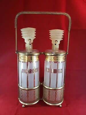 Vintage Fred Press Scotch & Bourbon Glass Liquor Decanters With Metal Caddy Gold
