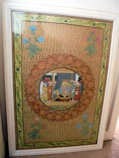 FRAMED ORIGINAL GOUACHE INDIAN PAINTING ON BOARD