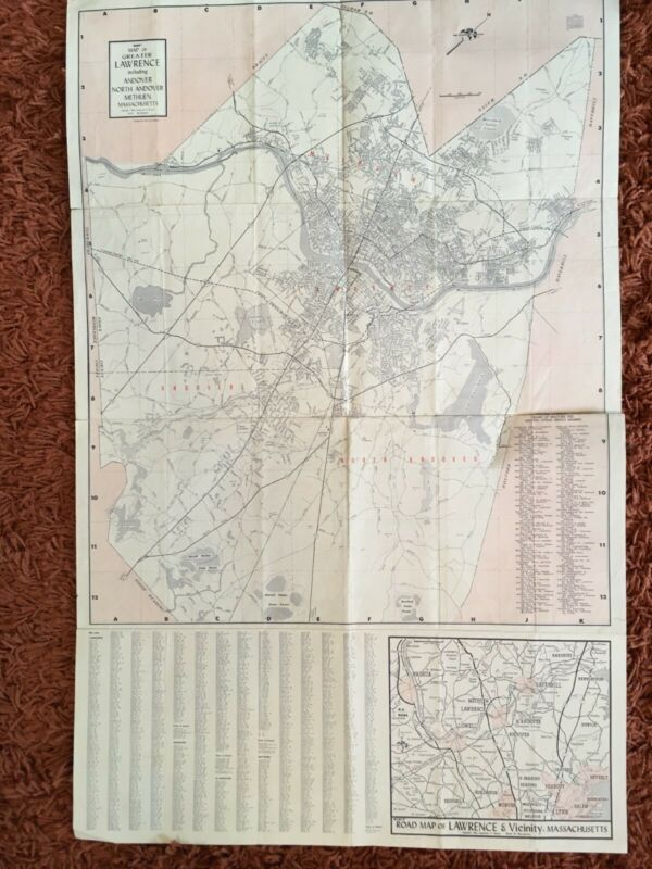 Vintage Original Pocket Map of Greater Lawrence, Massachusetts