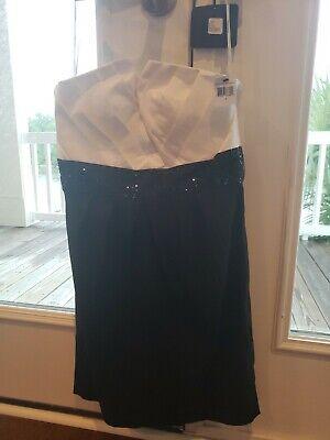 Calvin Klein Tiffany Black & White Strapless Tiffany Cocktail Dress 8 NWT