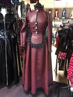 Misfitz burgundy leather look padlock Maids dress 2 way zip size 20 TV Steampunk