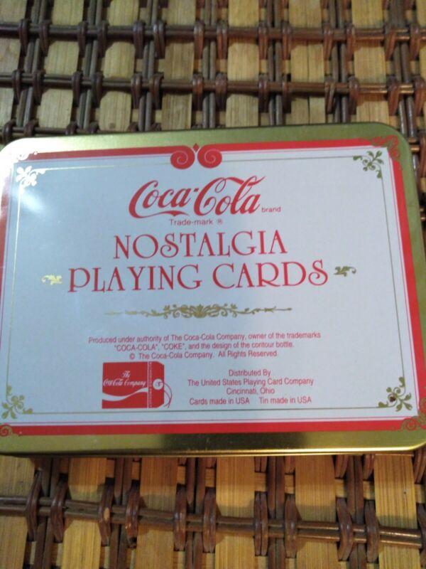 Coca Cola Nostalgia playing cards with Santa: New-2 Decks in collectible Tin
