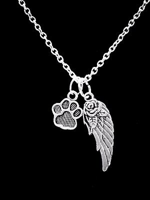 Guardian Angels Pets - Pet Memorial Necklace Paw Dog Lover Guardian Angel Wing Heaven Jewelry