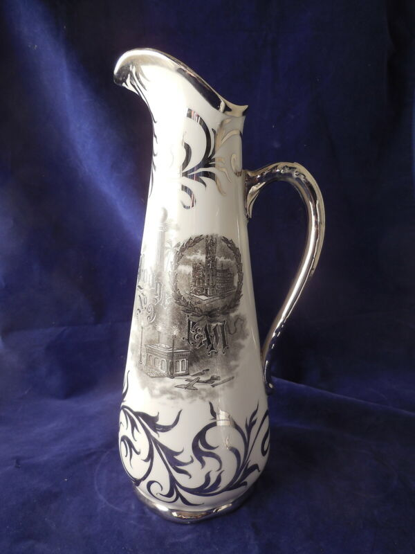 Masonic Lodge No. 9,  F & A M Fluted Pitcher Philadelphia Pa Maddock & Sons 1910