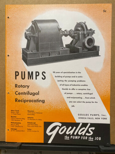 Vtg Goulds Pumps Brochure ~1948 Rotary Centrifugal Reciprocating