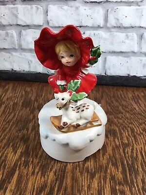 Vtg Christmas Music Box Kitsch Girl in Red w/ Reindeer Rudolph Japan Figurine