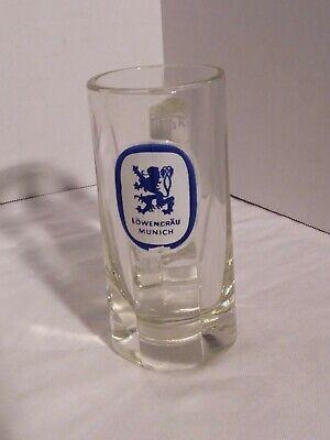 VINTAGE LOWENBRAU MUNICH Heavy Glass German Beer Mug Stein 10 oz Collectible