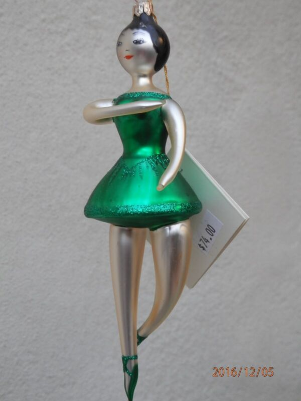 """DAVID STRAND """"On Their Toes"""" Ballerina Silver-Lined Blown Glass Ornament ROMANIA"""