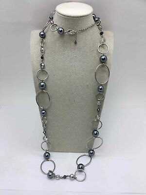 Lia Sophia Silver Toned Grey Faux Pearl Long Chain Link Statement - Long Pearl Grey Link Necklace