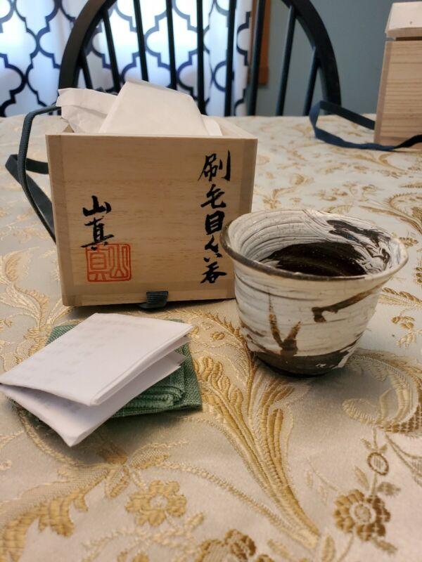 Makoto Yamaguchi Japanese Hakeme Guinomi Cup Pottery