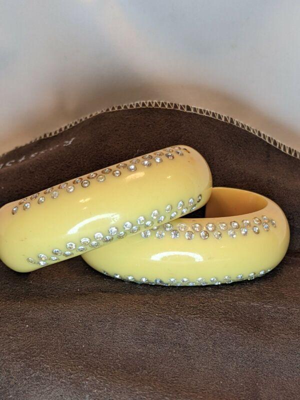 2 CELLULOID / BAKELITE BRACELETS  DOUBLE ROW RHINESTONES 1 in Cream Corn Color