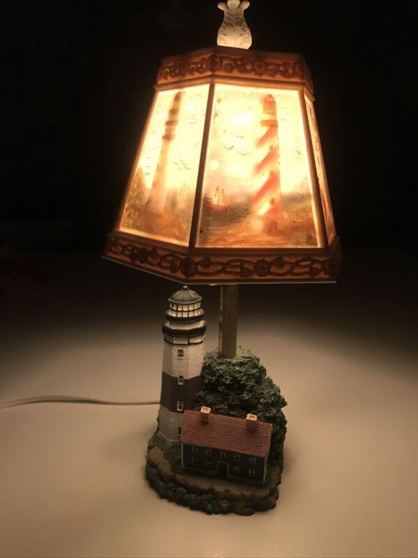 "Vintage Lighthouse Lamp Illuminated Colorful Suprise Shade Nightlight Resin 11"""