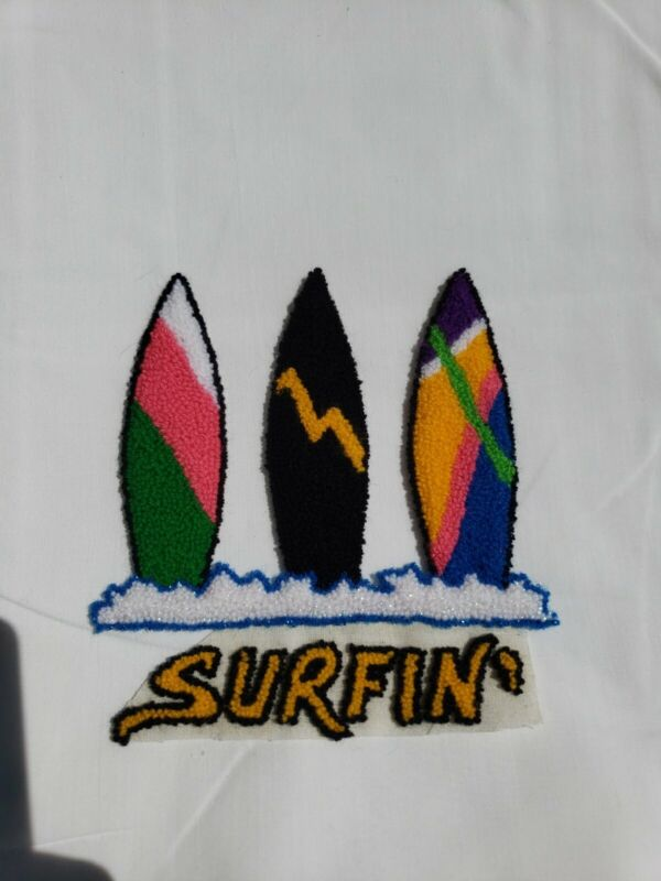 Vintage Punch Needle Embroidery Surfing Surf Boards Applique Patch  Beach Surfer