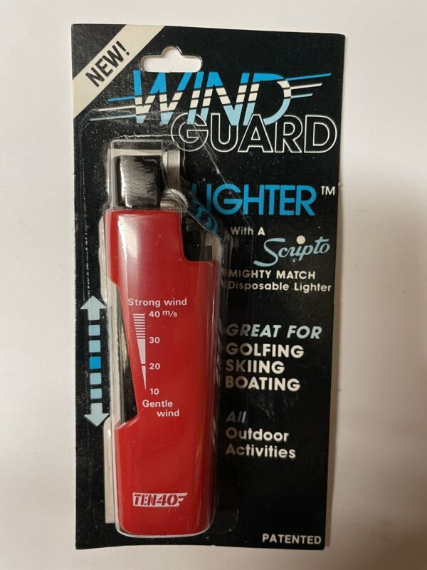 Wind Guard Flame Guard Disposable Lighter Original Package Red NOS Scripto