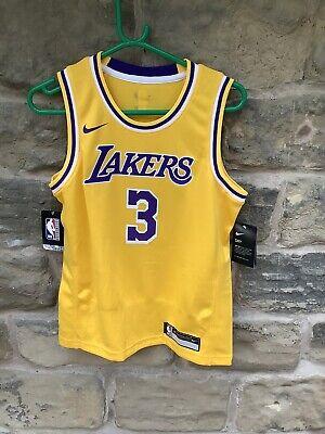 Brand New With Tags Nike NBA LA Lakers Jersey Yellow MediumKids Age 10/12 Davis3