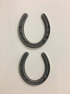 2 Cast Iron Metal Lucky Horseshoes Western Lone Star Texas Rustic Decor 4 3/8